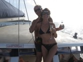 rich and patti on cat in St. Lucia